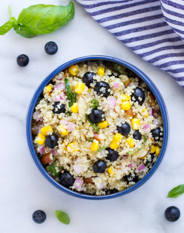Blueberry, Corn and Basil Quinoa Salad