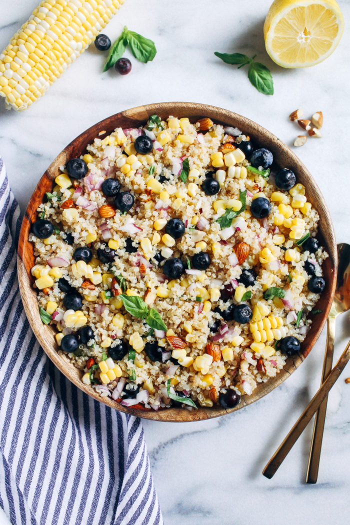 Blueberry, Corn & Basil Quinoa Salad- bursting with flavor and satiating protein, this nutritious salad is perfect for summertime potlucks and picnics! (vegan & gluten-free)