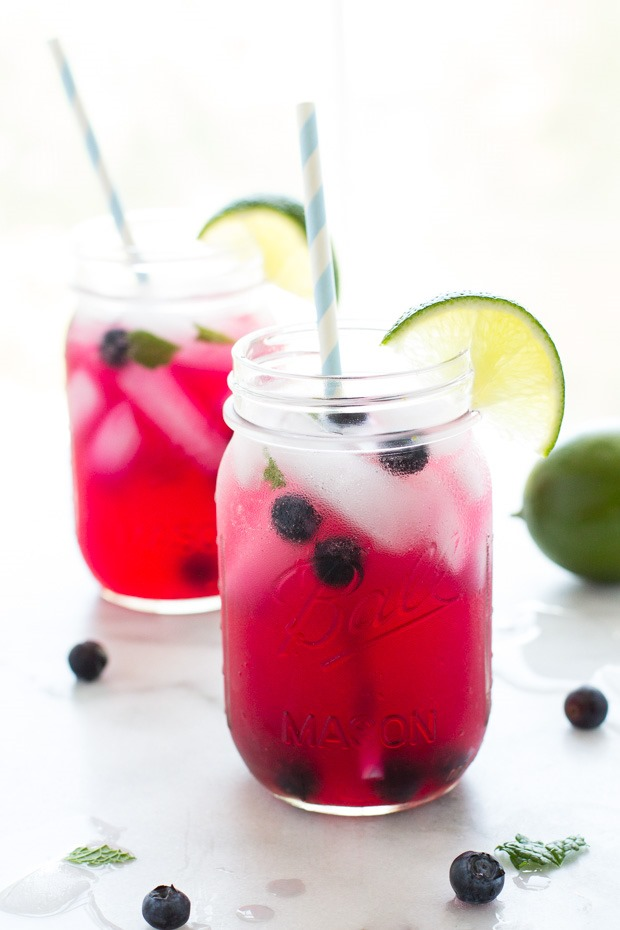 Blueberry Mojito Kombucha- a refreshing bubbly and non-alcoholic version of a blueberry mojito! Packed with healthy probiotics!