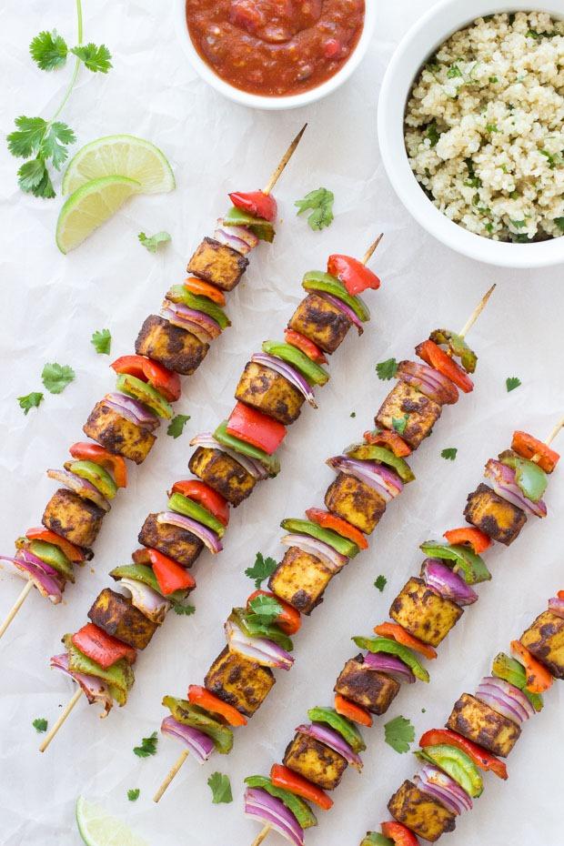 Tofu Fajita Kebabs with Cilantro Lime Quinoa