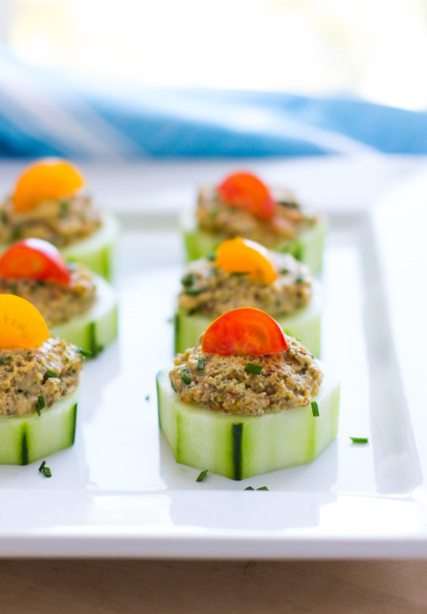 Cucumber Bites with Sriracha Pesto