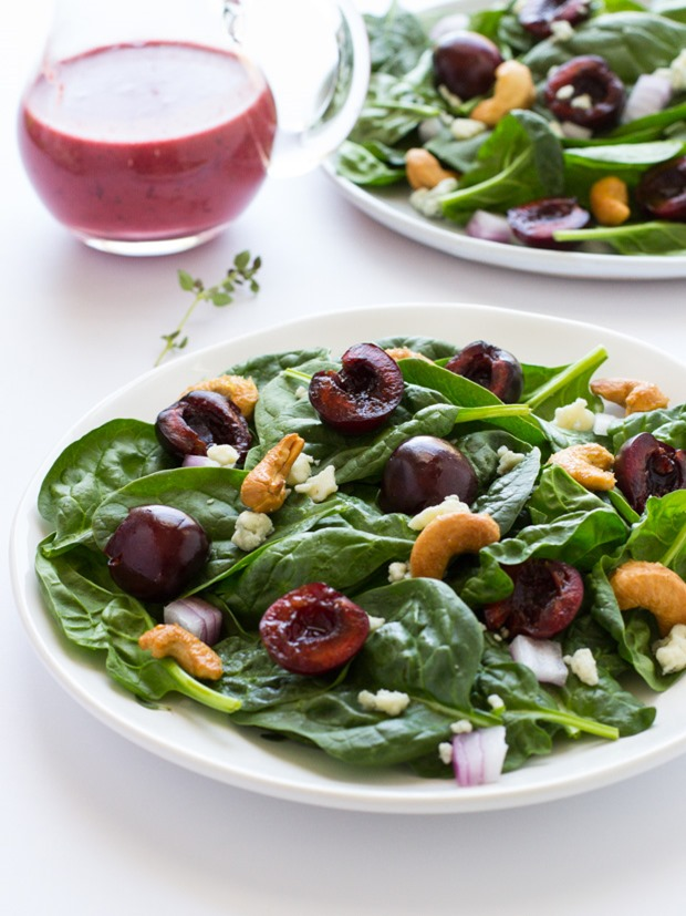 Spinach Salad with Maple Roasted Pecans and Fresh Cherry Vinaigrette