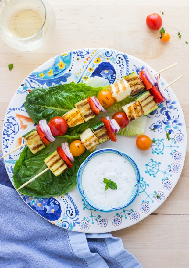 Grilled Halloumi Veggie Kebabs with Mint Yogurt Sauce- less than 30 minutes from start to finish!