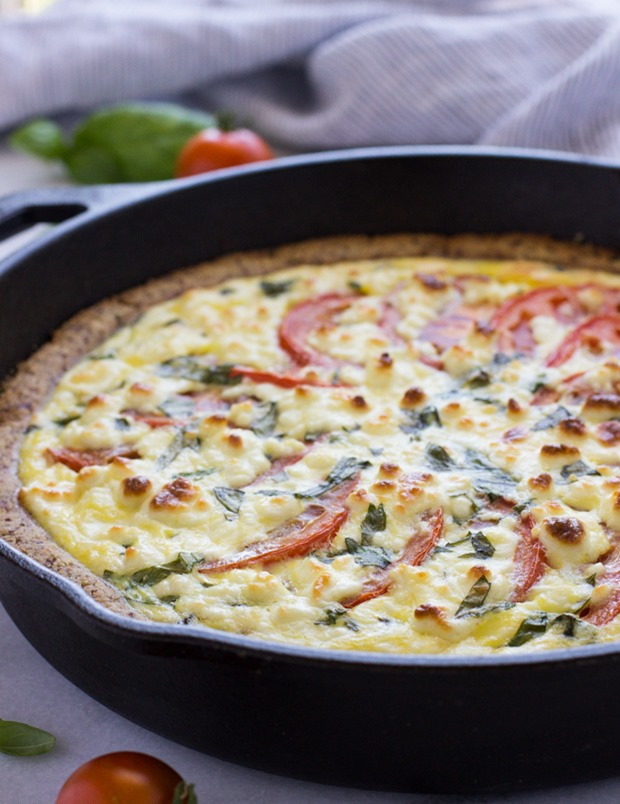 Tomato Basil Quiche with a Gluten-free Almond Meal Crust
