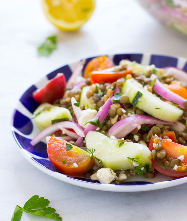 Garden Fresh Lentil, Cucumber Tomato Salad- a light and refreshing salad packed with Mediterranean flavor! Less than 300 calories per serving