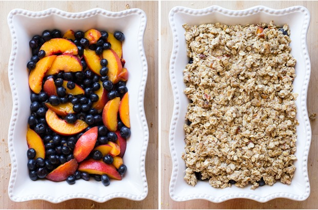 Blueberry Peach Oatmeal Crisp- serve with vanilla bean ice cream for a summer dessert that will knock everyone's socks off! #glutenfree