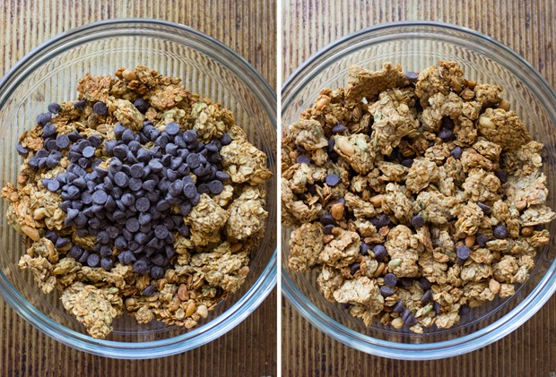Peanut Butter, Banana & Chocolate Chip Granola- made in one bowl and it's vegan, gluten-free, oil-free and refined sugar-free!