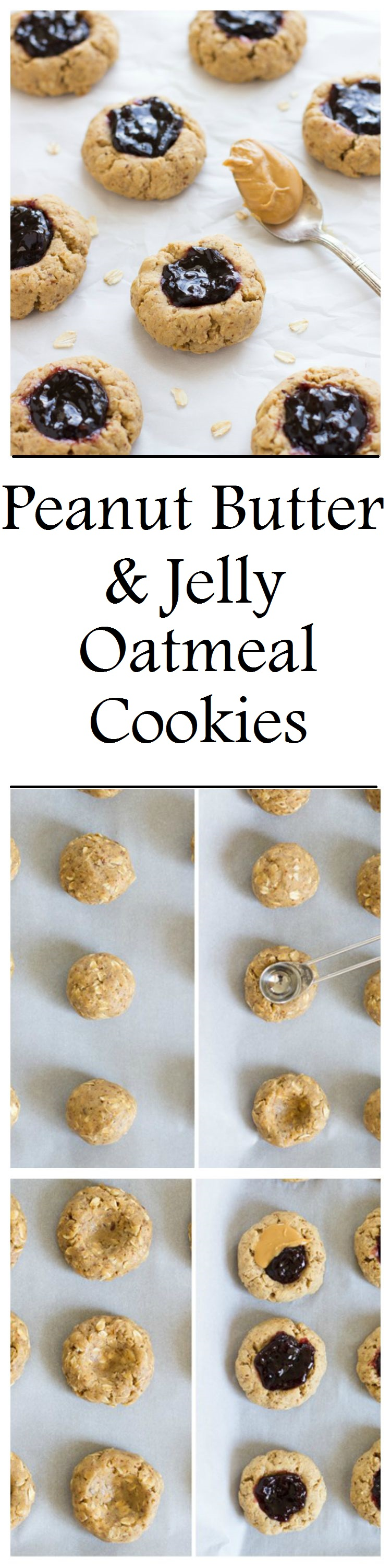 Healthy Peanut Butter & Jelly Oatmeal Cookies- a fun and healthy treat inspired by the childhood classic! #glutenfree #vegan and #refinedsugarfree