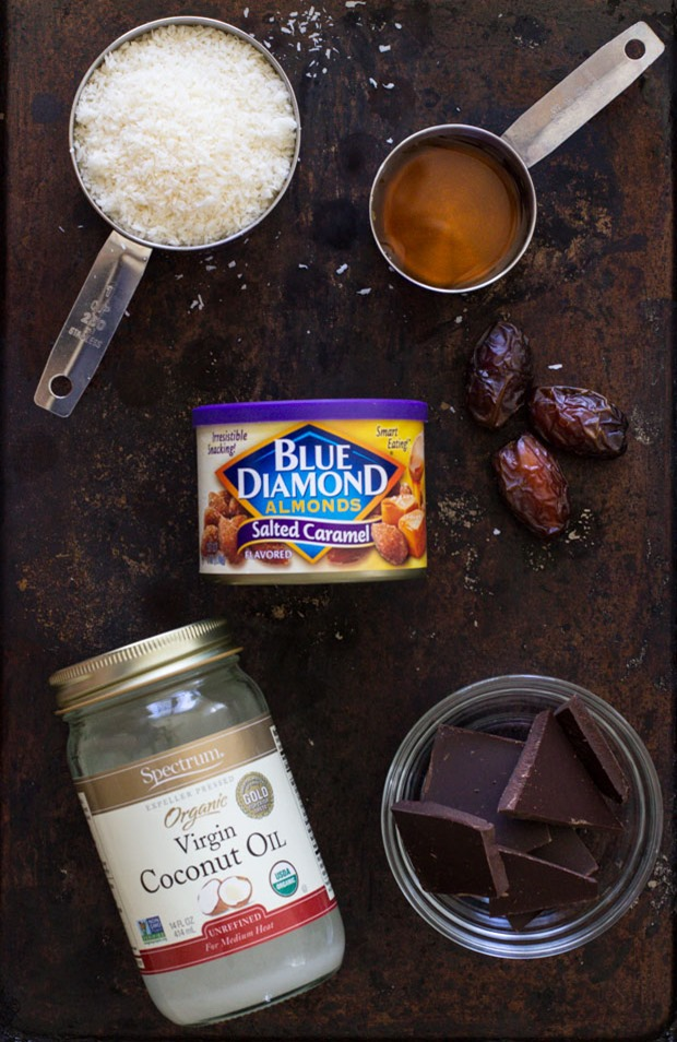 Salted Almond Dark Chocolate Coconut Bites- so addicting and easy to make! #glutenfree #dairyfree #refinedsugarfree
