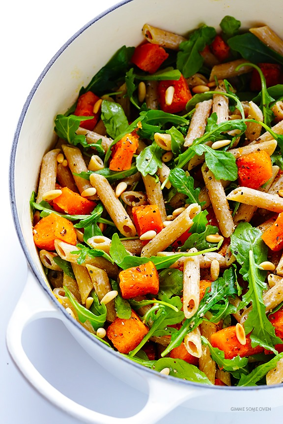 5-Ingredient-Butternut-Squash-Arugula-and-Goat-Cheese-Pasta