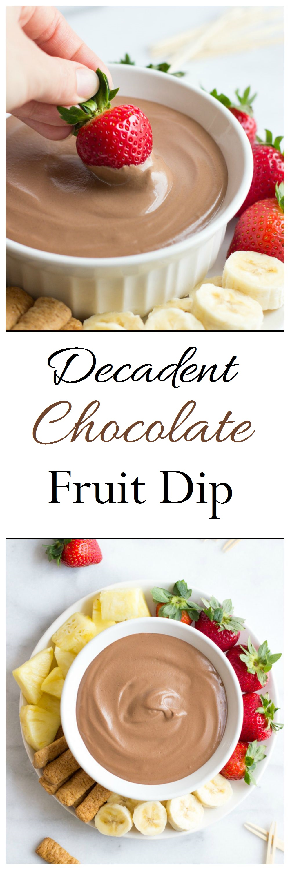 5 Minute Decadent Chocolate Fruit Dip-smooth as silk and dairy-free! #cleaneating #vegan #paleo