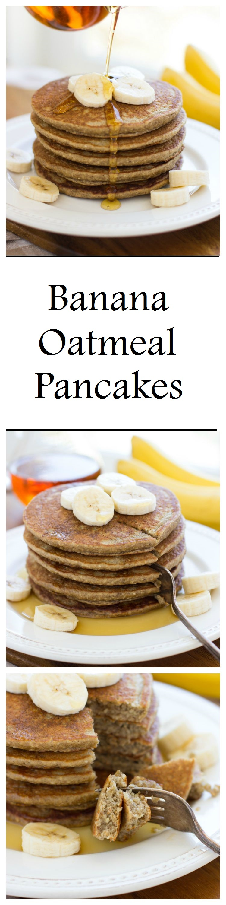Banana Oatmeal Pancakes- light, fluffy and naturally sweet. Just throw everything into the blender and your batter is ready to go! #glutenfree #dairyfree #cleaneating
