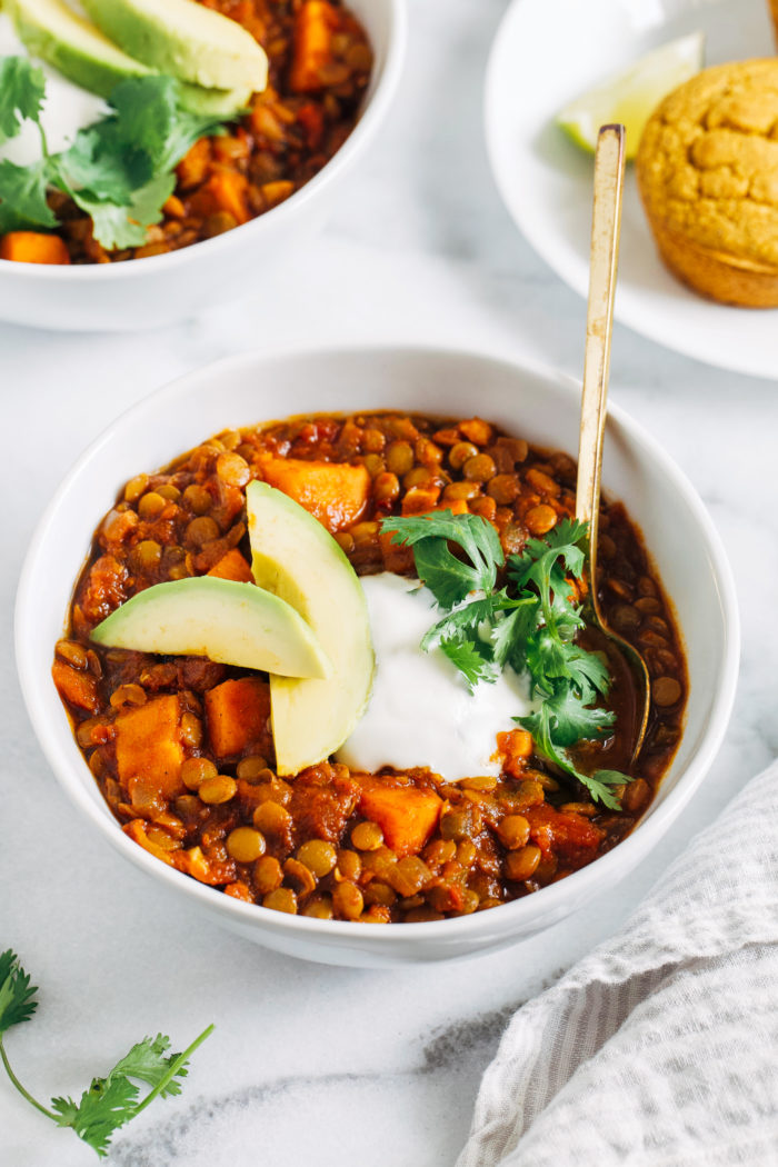 Chipotle Sweet Potato and Lentil Chili-  the rich and smoky flavor of this plant-based chili is sure to please. It comes together with minimal clean up in just one pot!