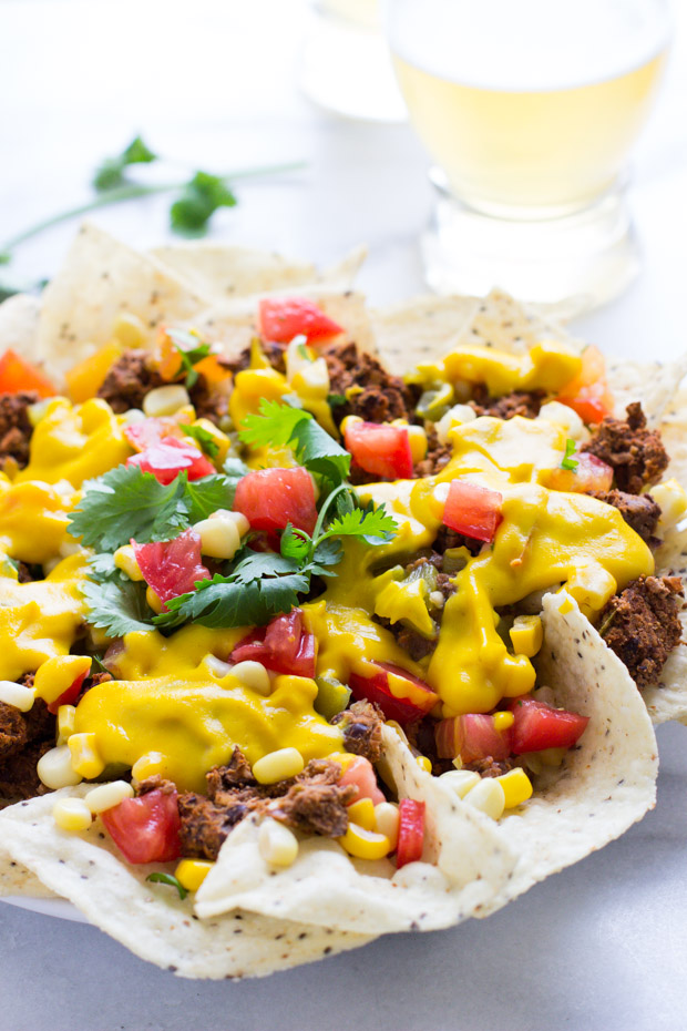 Loaded Vegan Chili Cheese Nachos - healthy comfort food at it's finest!
