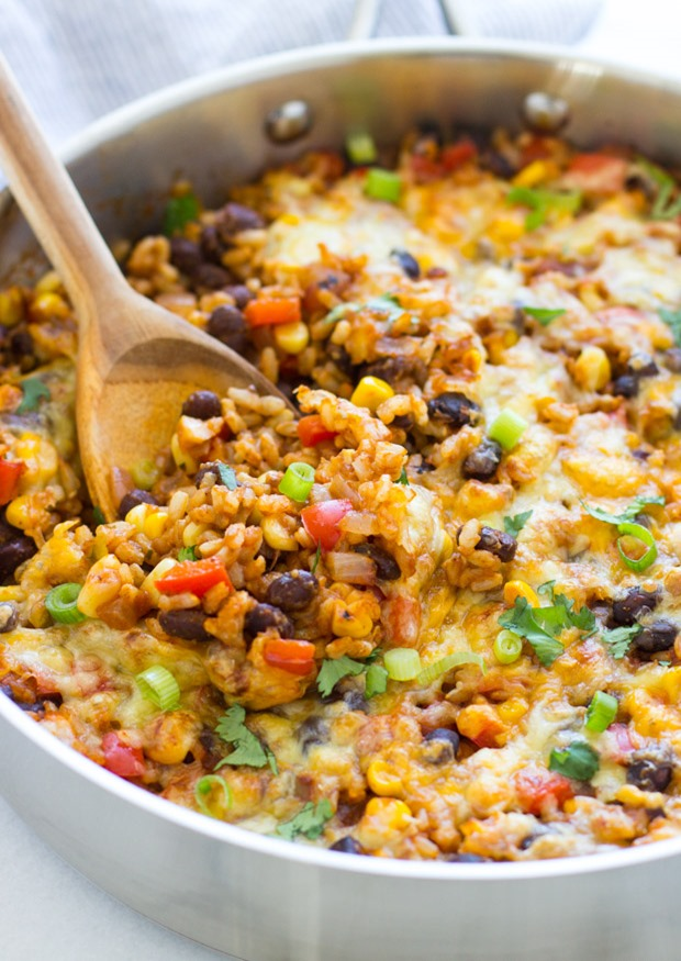 One Skillet Mexican Rice Casserole- an easy dinner recipe with almost ...