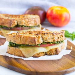 Spinach Basil Pesto & Tomato Grilled Cheese