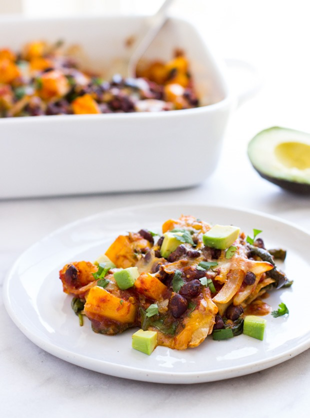 Butternut Squash Enchilada Casserole- a healthy vegetarian meal that everyone will love!