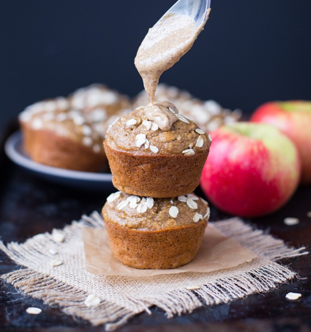Healthy Apple Almond Butter Muffins- made with whole grain oats, applesauce, fresh apples and almond butter. Only 168 calories per muffin! (gluten-free & dairy-free)