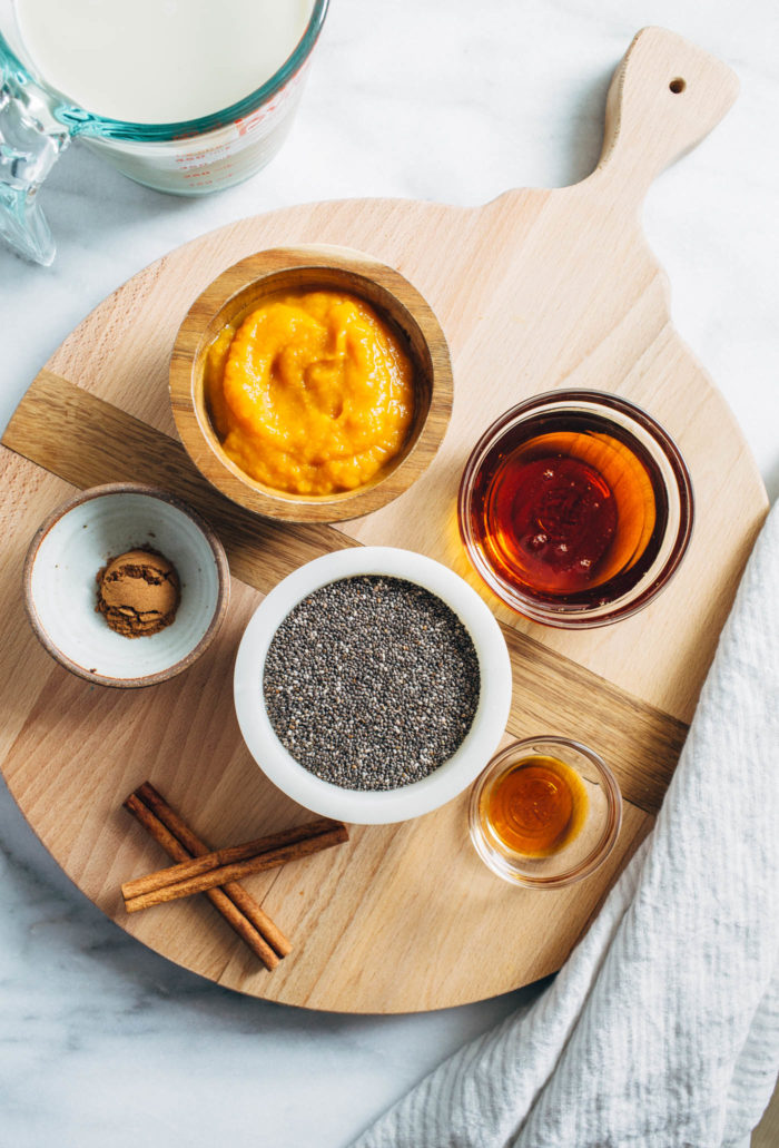 Pumpkin Chia Pudding Parfaits- made with pumpkin puree and naturally sweetened with pure maple syrup, these parfaits are layered with tons of flavor and texture. Perfect to prep for healthy breakfasts or snacks! (plant-based, gluten-free)