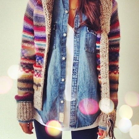 Denim shirt layered with Fair Isle Cardigan