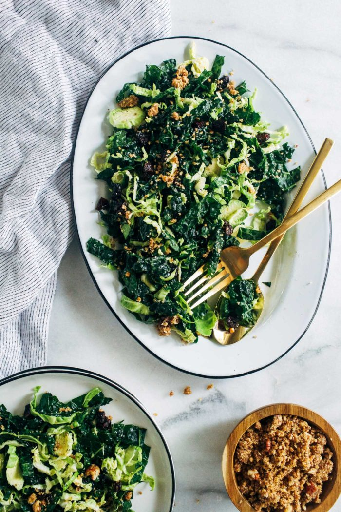Shredded Brussels Sprout and Kale Salad with Maple Pecan Parmesan