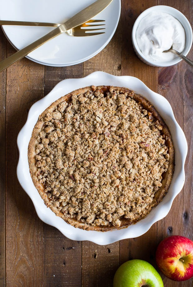 Not Your Grandmother's Apple Pie- a vegan and gluten-free apple crumb pie that will make everyone forget about the butter and excess sugar! #thanksgiving