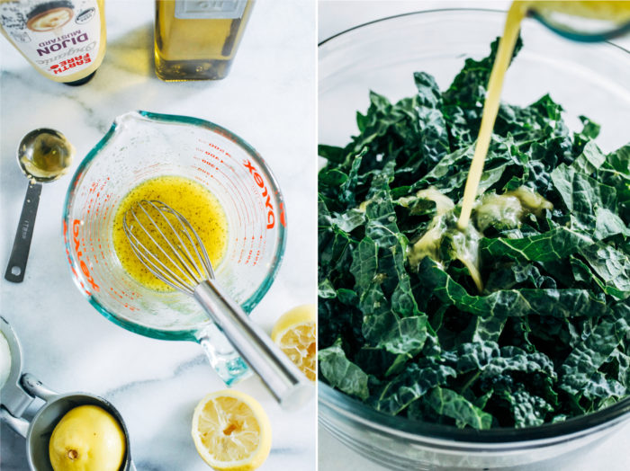 Shredded Brussels Sprout and Kale Salad with Maple Pecan Parmesan- this salad is robust and flavorful, making it perfect to prep ahead for the holidays or healthy lunches during the week! (vegan + gluten-free)