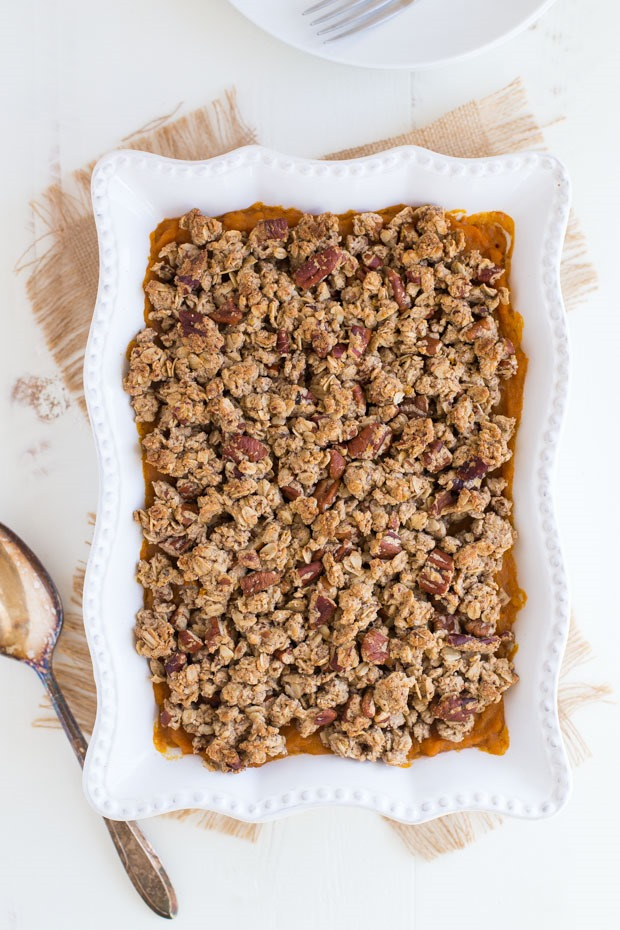 Butternut Squash and Sweet Potato Casserole with Pecan Crumble
