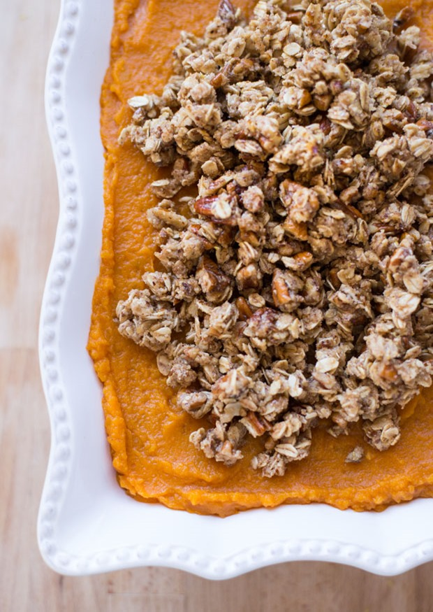Butternut Squash and Sweet Potato Casserole topped with Pecan Crumble- a flavorful side dish that everyone will love! (vegan and gluten-free)