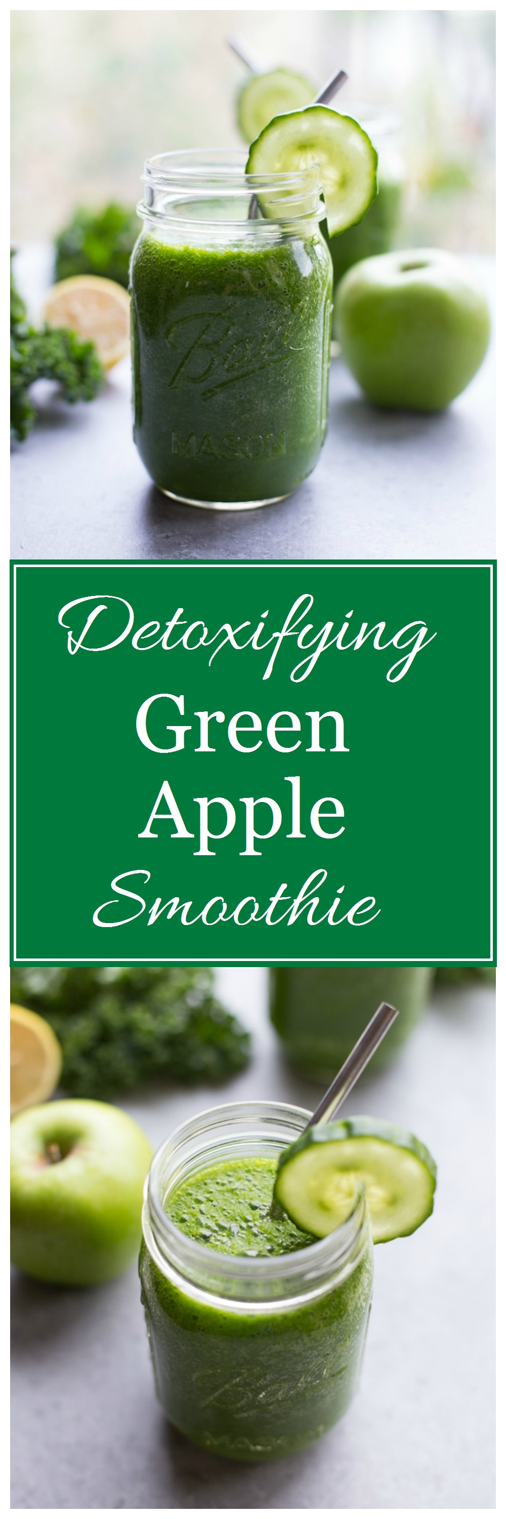 Detoxifying Green Apple Smoothie- packed full of nutrients that will make you glow from the inside out! #detox #plantbased
