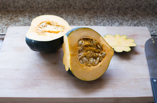 Acorn Squash and Apple Soup- blended with turmeric and coconut milk for a comforting soup with anti-inflammatory benefits!