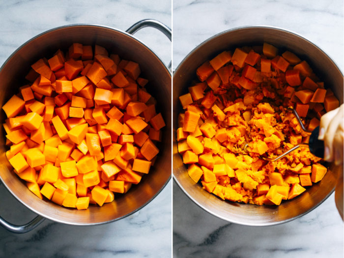 Butternut Squash and Sweet Potato Casserole with Pecan Crumble- butternut squash lightens up the traditional texture of sweet potato casserole and gets topped withdeliciousclusters of pecancrumble. Altogether it makes for oneirresistible side item! (vegan and gluten-free)