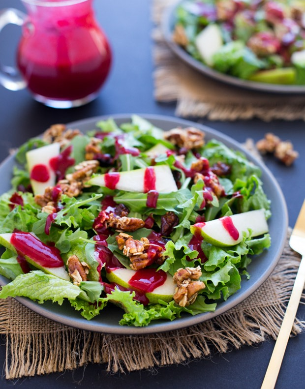 Pear and Arugula Salad with Pecan Oat Clusters and Cranberry Orange Dressing- a beautiful salad that's perfect for the holidays! (gluten-free)