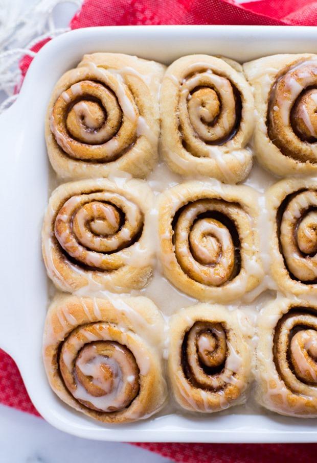 Vegan Eggnog Cinnamon Rolls made with @lovemysilk Almond Nog #ad