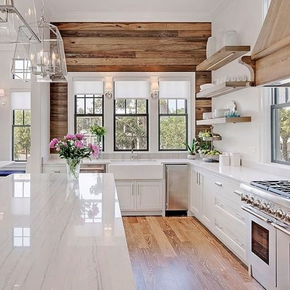 White Kitchen with Cypress Accent Wall