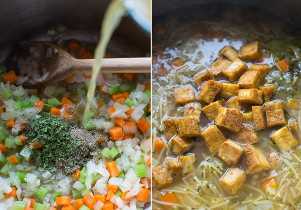 Tofu 'Chicken' Noodle Soup- a plant-based soup that's just as comforting and delicious as the classic!
