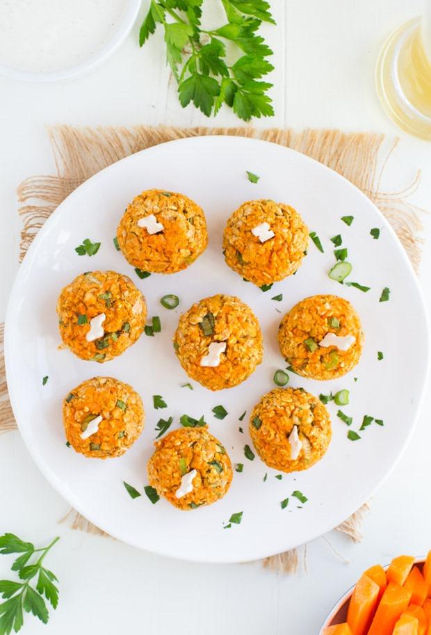 Baked Buffalo Chickpea Bites (vegan + gluten-free)