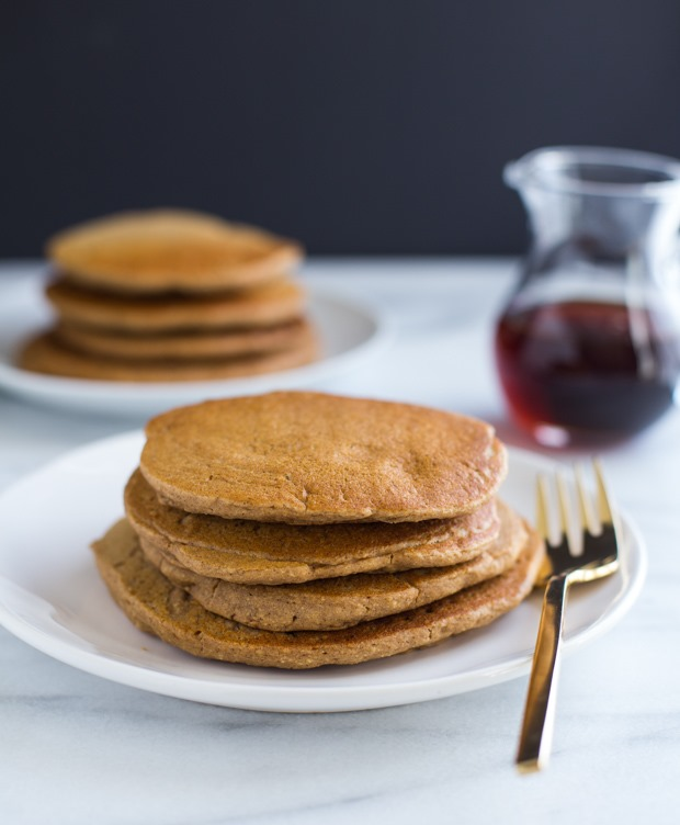 Vegan Oatmeal Blender Pancakes- so light and fluffy, you would never guess they're made without eggs or gluten!
