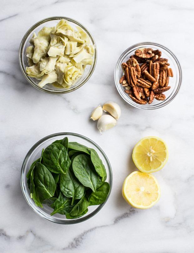 Spinach and Artichoke Pesto Spaghetti Squash Bowls (grain-free, gluten-free, vegetarian)