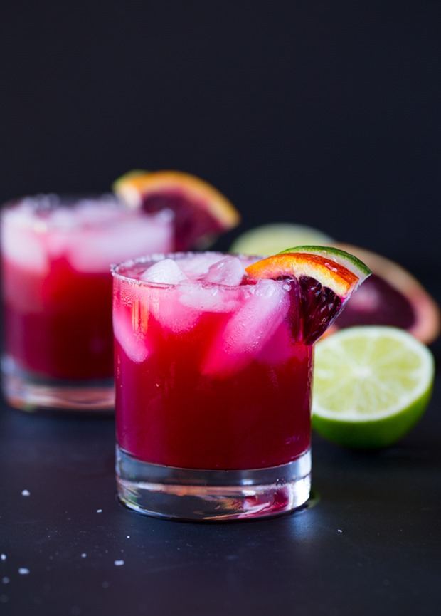 Skinny Blood Orange Margaritas- made with just 4 simple ingredients and only 77 calories each!