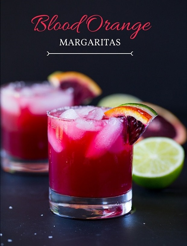 Skinny Blood Orange Margaritas- made with just 4 simple ingredients and only 77 calories each! width=