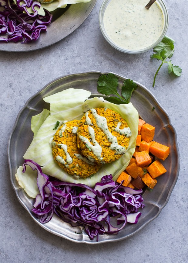 Curried Sweet Potato Chickpea Burgers with Cilantro Tahini Sauce