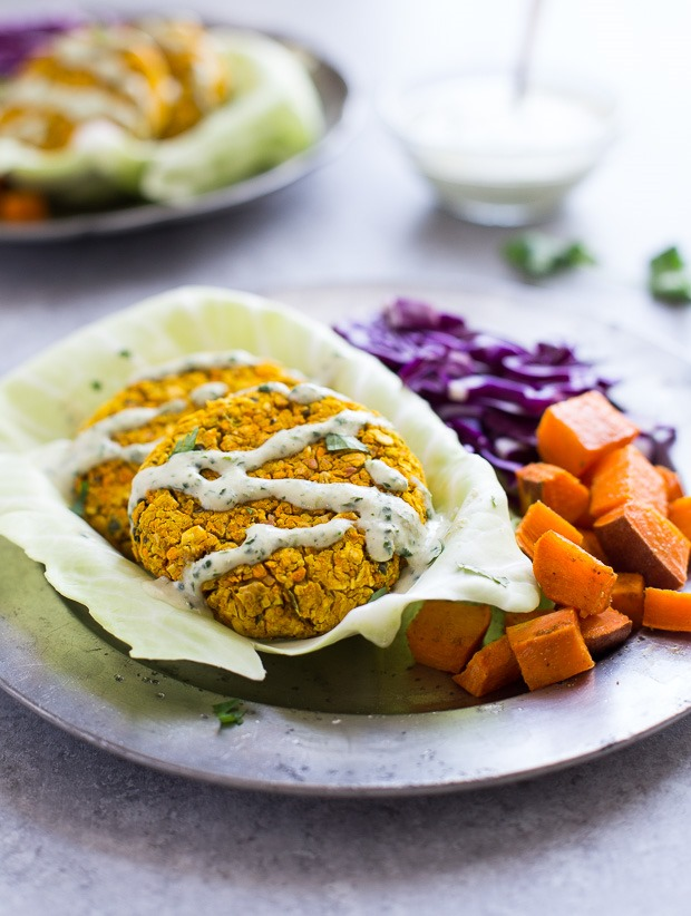 Curried Sweet Potato Burgers with Cilantro Sauce