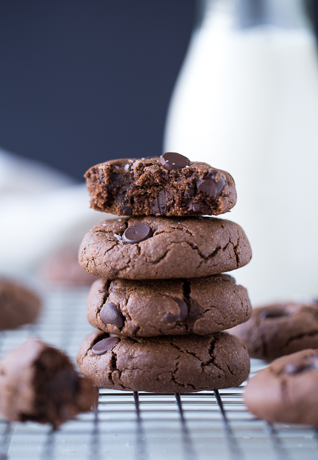 Double Chocolate Peanut Butter Cookies (whole grain, vegan, gluten-free and refined sugar-free!)