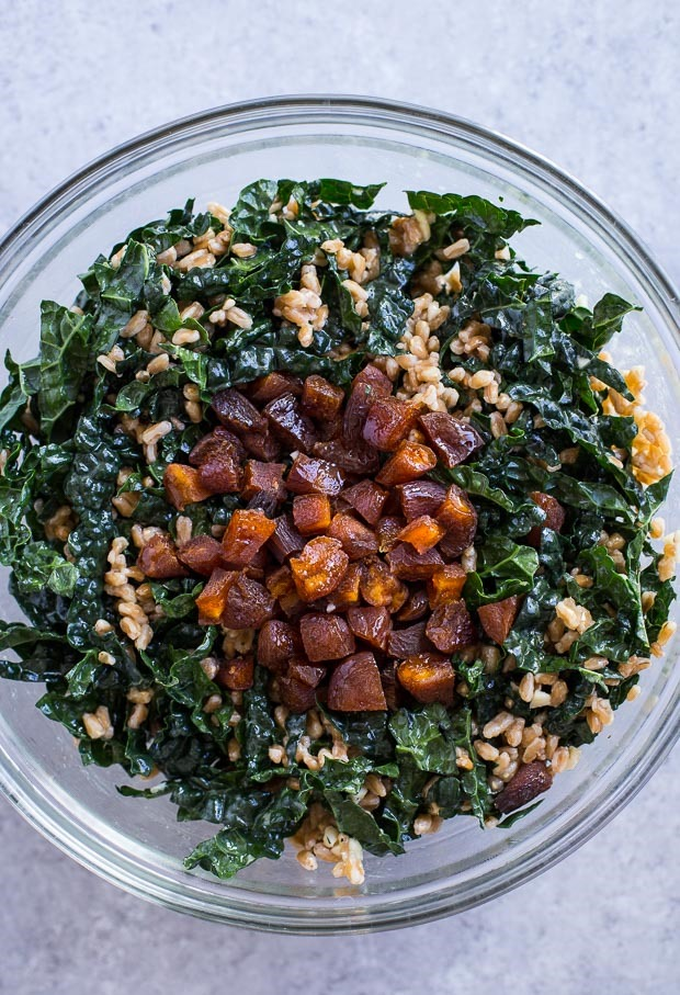 Farro Kale Salad with Pickled Almonds and Shallots (vegan) | makingthymeforhealth.com