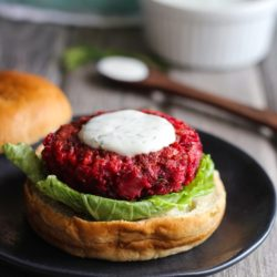 Superfood Beet Burgers with Yogurt Dill Sauce  #cleaneating #vegetarian | makingthymeforhealth.com