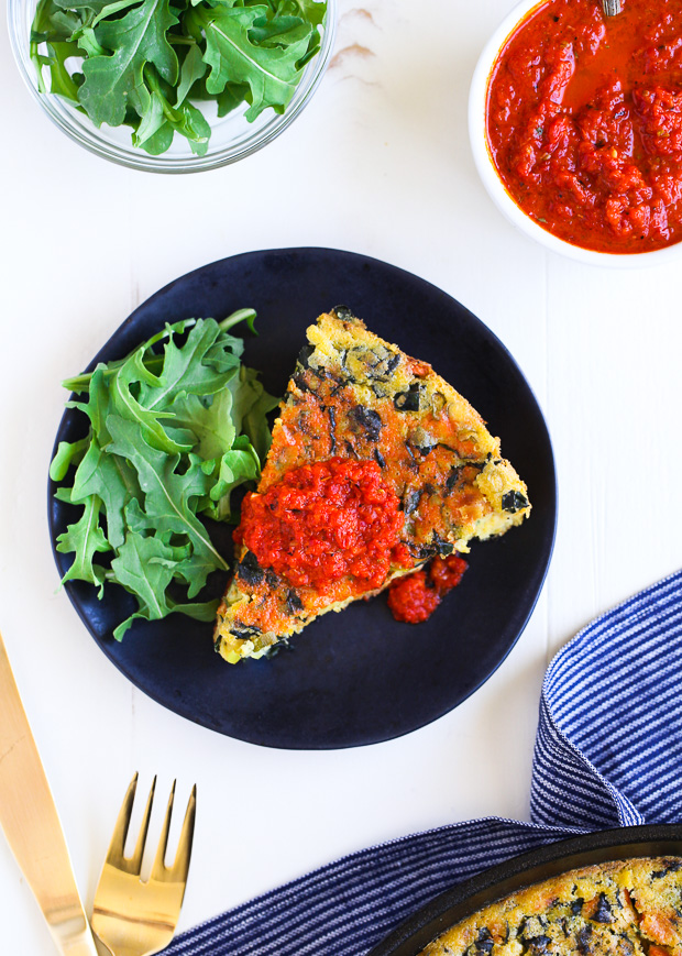 Chickpea Frittata with Roasted Red Pepper Sauce- an eggless frittata made from vegetables and garbanzo bean flour. Perfect for healthy breakfasts, brunch or dinner! (vegan + gluten-free)