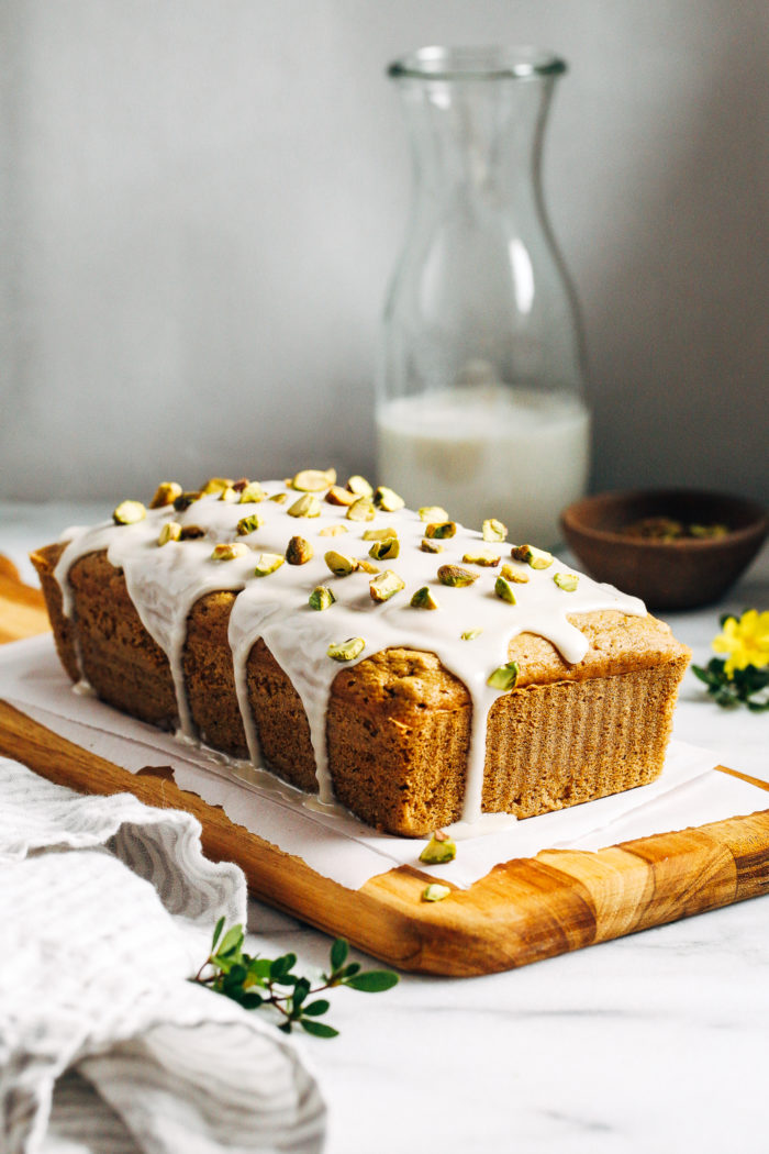 Gluten-free Pistachio Cake- a whole grain and dairy-free cake that's naturally sweetened and full of pistachio flavor. Perfect to serve for brunch or dessert!