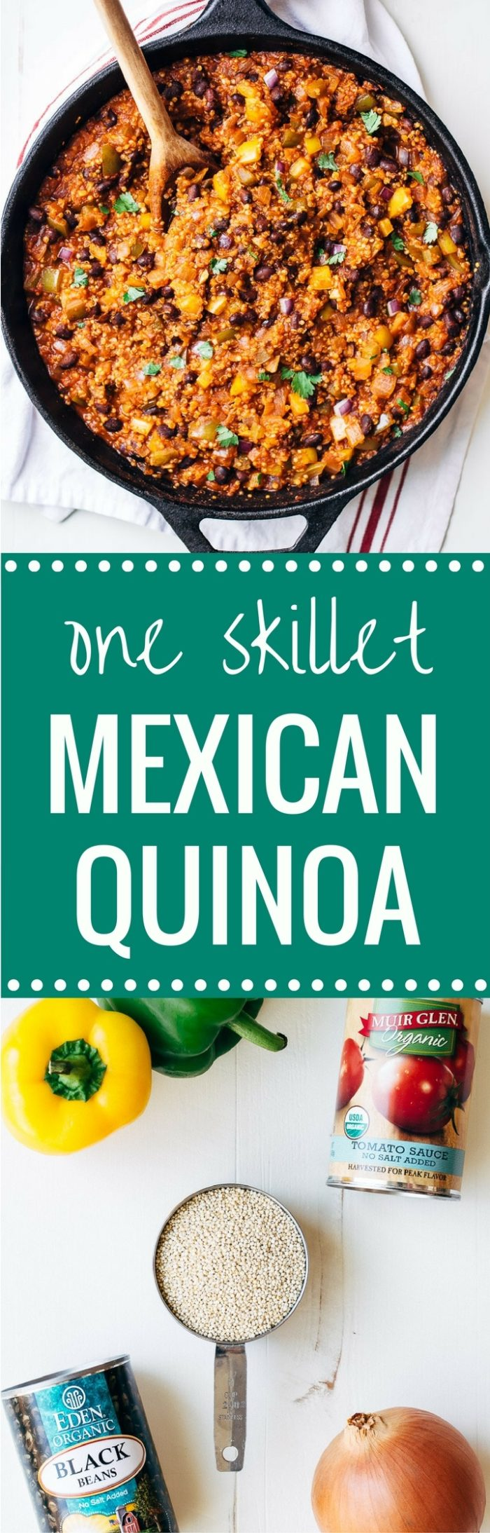 One Skillet Mexican Quinoa- an easy one-pot meal that's perfect for busy weeknights. Each serving has 20 grams of protein! (vegan + gluten-free) | Making Thyme for Health
