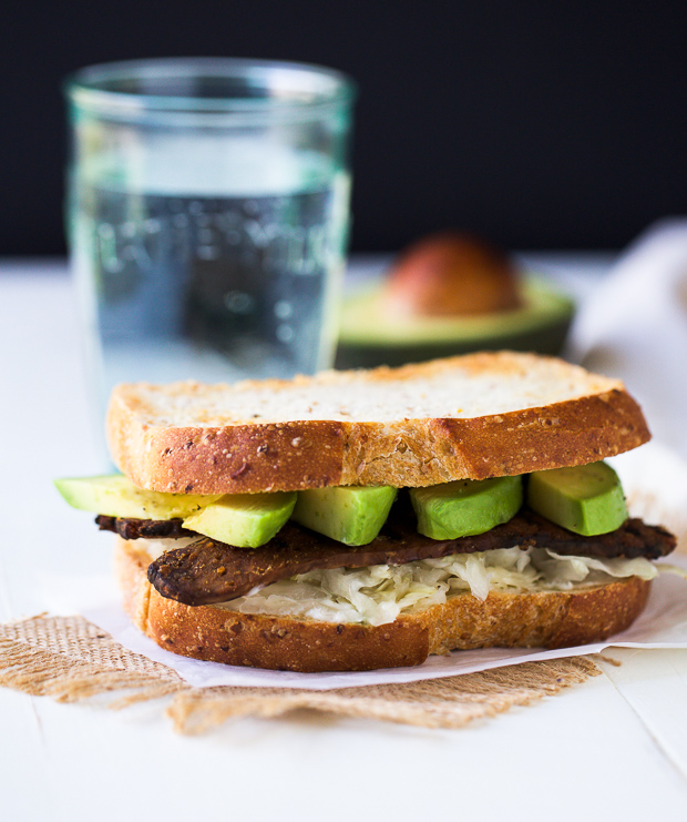 Tempeh, Avocado and Sauerkraut Sandwich (vegan)